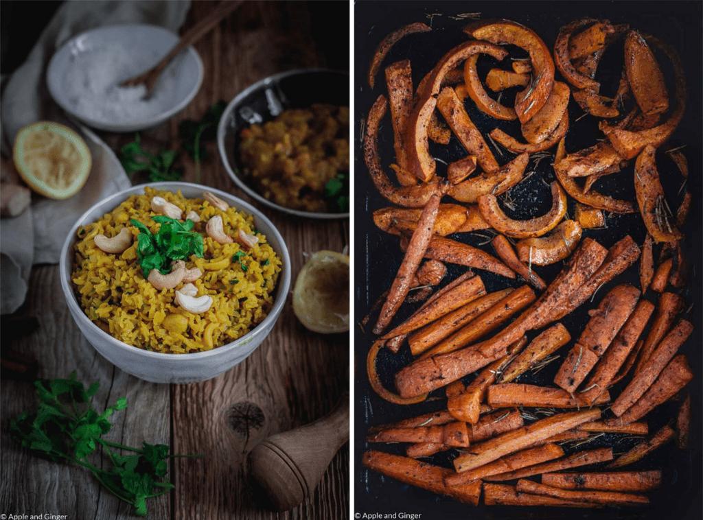 Zwei Bilder mit Reis und Ofengemüse